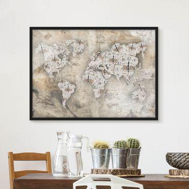 Bild mit Rahmen - Shabby Uhren Weltkarte - Querformat 3:4