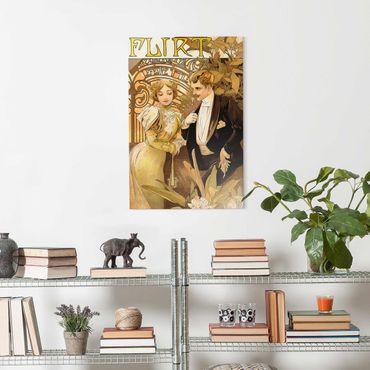 Glasbild - Alfons Mucha - Werbeplakat für Flirt Biscuits - Hochformat 3:2
