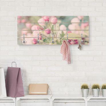 Wandgarderobe Holz - Apfelblüte Bokeh rosa - Haken chrom Querformat