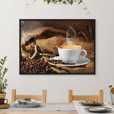 Bild mit Rahmen - Kaffee am Morgen - Querformat 3:4