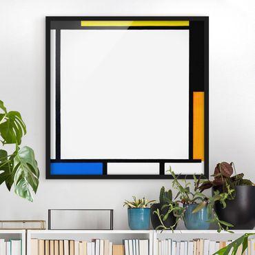 Bild mit Rahmen - Piet Mondrian - Komposition II - Quadrat 1:1