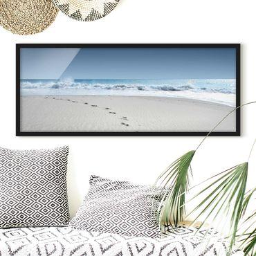 Bild mit Rahmen - Spuren im Sand - Panorama Querformat