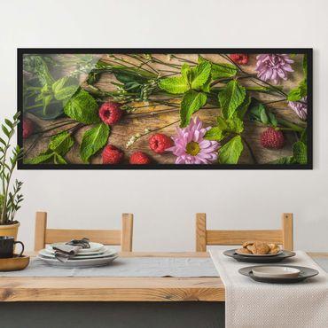 Bild mit Rahmen - Blumen Himbeeren Minze - Panorama Querformat