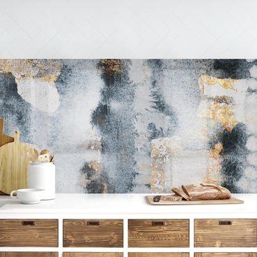 Küchenrückwand - Abstraktes Aquarell mit Gold