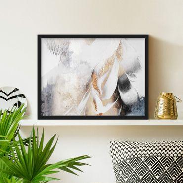 Bild mit Rahmen - Goldene abstrakte Wintermalerei - Querformat 3:4