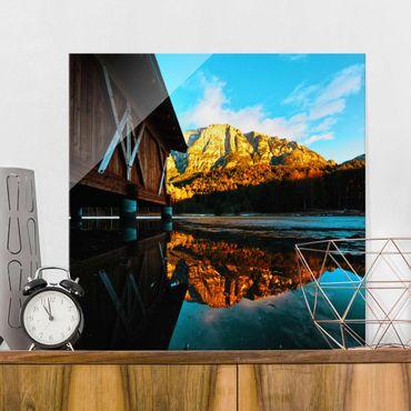 Glasbild - Bergspiegelung in den Dolomiten - Quadrat