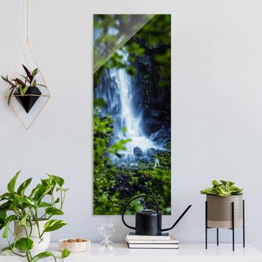Glasbild - Blick zum Wasserfall - Hochformat