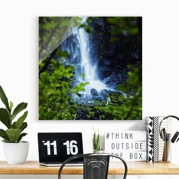 Glasbild - Blick zum Wasserfall - Quadrat