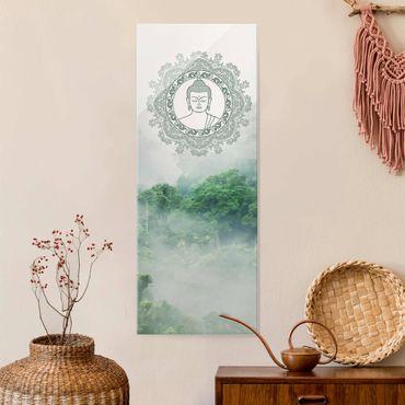 Glasbild - Buddha Mandala im Nebel - Hochformat