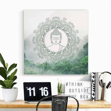 Glasbild - Buddha Mandala im Nebel - Quadrat