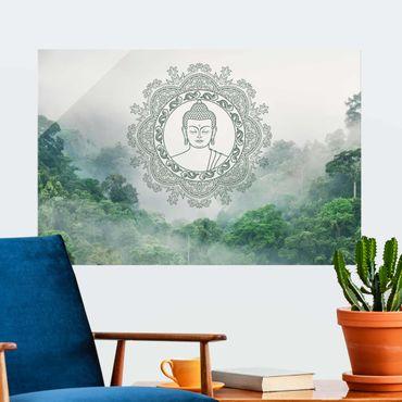 Glasbild - Buddha Mandala im Nebel - Querformat