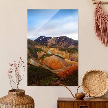 Glasbild - Bunte Berge in Island - Hochformat