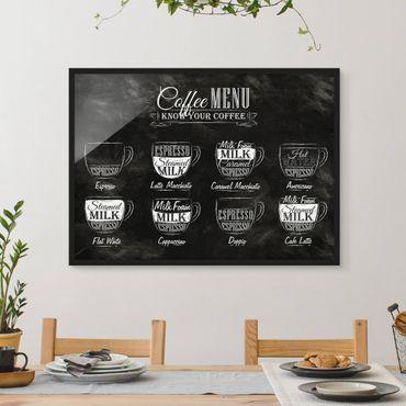 Bild mit Rahmen - Kaffeesorten Kreidetafel - Querformat 3:4