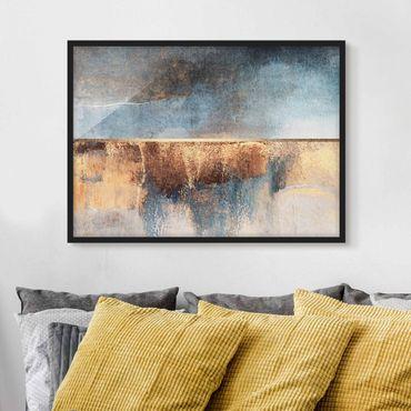 Bild mit Rahmen - Abstraktes Seeufer in Gold - Querformat 3:4