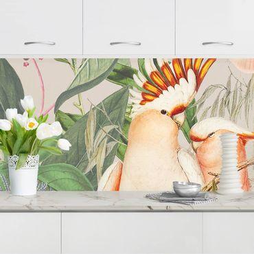 Küchenrückwand - Colonial Style Collage - Rosa Kakadu