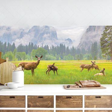 Küchenrückwand - Rehe in den Bergen