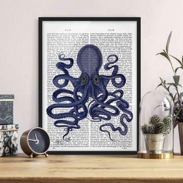 Bild mit Rahmen - Tierlektüre - Oktopus - Hochformat 4:3