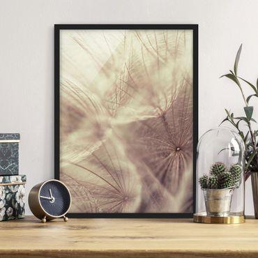 Bild mit Rahmen - Detailreiche Pusteblumen Makroaufnahme mit Vintage Blur Effekt - Hochformat 3:4