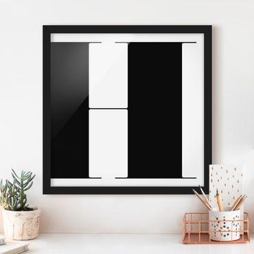 Bild mit Rahmen - Antiqua Letter H - Quadrat 1:1
