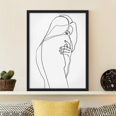 Bild mit Rahmen - Line Art Frauenakt Schulter Schwarz Weiß - Hochformat 4:3