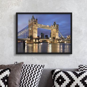 Bild mit Rahmen - Tower Brücke bei Nacht - Querformat 3:4