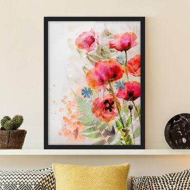 Bild mit Rahmen - Aquarell Blumen Mohn - Hochformat 3:4