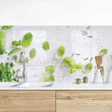 Küchenrückwand - Kräuter auf Holz Shabby
