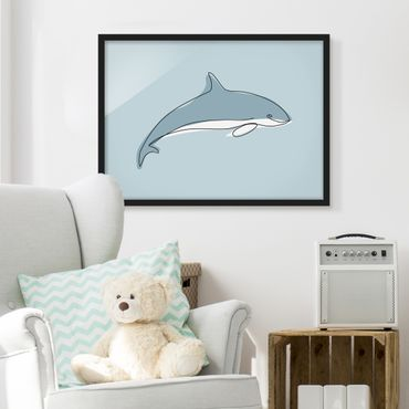 Bild mit Rahmen - Delfin Line Art - Querformat 3:4