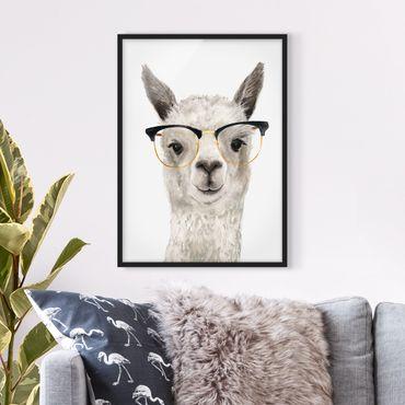 Bild mit Rahmen - Hippes Lama mit Brille I - Hochformat 4:3