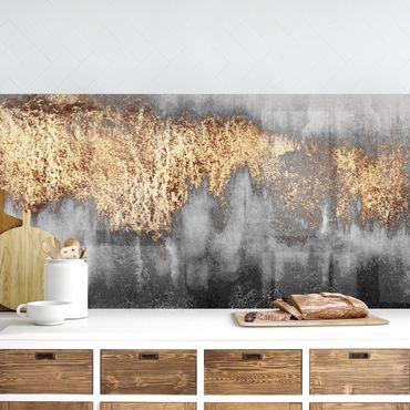 Küchenrückwand - Goldspuren in Aquarell
