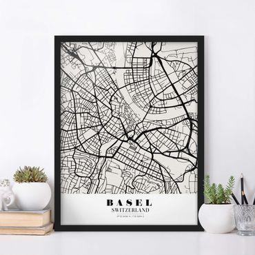 Bild mit Rahmen - Stadtplan Basel - Klassik - Hochformat 3:4