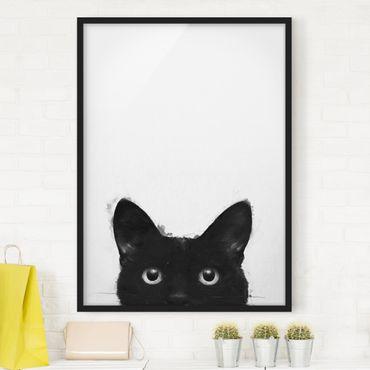 Bild mit Rahmen - Illustration Schwarze Katze auf Weiß Malerei - Hochformat 4:3