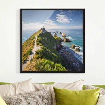 Bild mit Rahmen - Nugget Point Leuchtturm und Meer Neuseeland - Quadrat 1:1