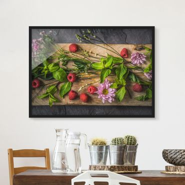Bild mit Rahmen - Blumen Himbeeren Minze - Querformat 3:4