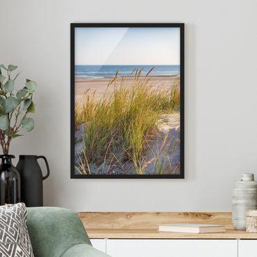 Bild mit Rahmen - Stranddüne am Meer - Hochformat 4:3