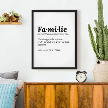 Bild mit Rahmen - Die Definition von Familie - Hochformat 3:4