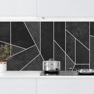 Küchenrückwand - Schwarz Weiß Geometrie Aquarell