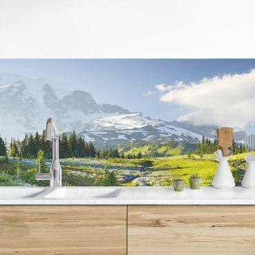 Küchenrückwand - Bergwiese mit Blumen vor Mt. Rainier