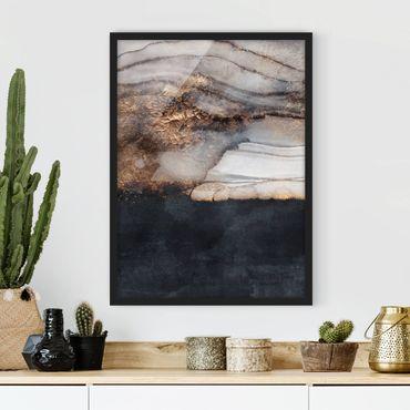 Bild mit Rahmen - Goldener Marmor gemalt - Hochformat 4:3