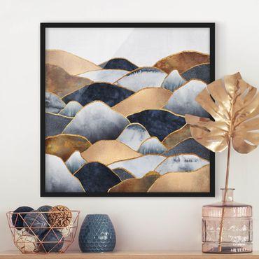 Bild mit Rahmen - Goldene Berge Aquarell - Quadrat 1:1