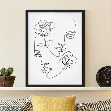 Bild mit Rahmen - Line Art Gesichter Frauen Rosen Schwarz Weiß - Hochformat 4:3