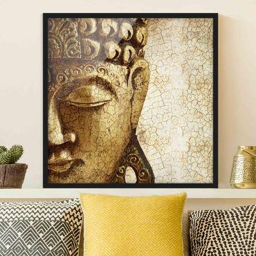 Bild mit Rahmen - Vintage Buddha - Quadrat 1:1