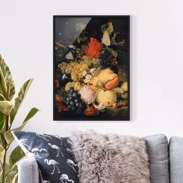 Bild mit Rahmen - Jan van Huysum - Früchte Blumen und Insekten - Hochformat 3:4