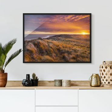 Bild mit Rahmen - Sonnenaufgang am Strand auf Sylt - Querformat 3:4