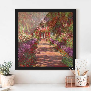 Bild mit Rahmen - Claude Monet - Weg in Monets Garten in Giverny - Quadrat 1:1