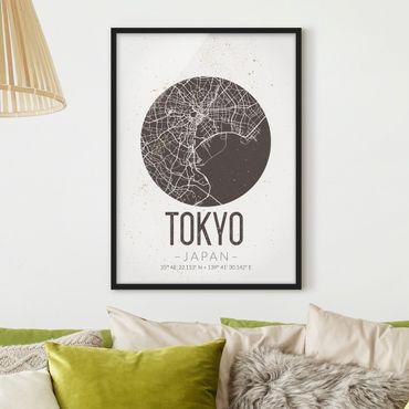 Bild mit Rahmen - Stadtplan Tokyo - Retro - Hochformat 3:4