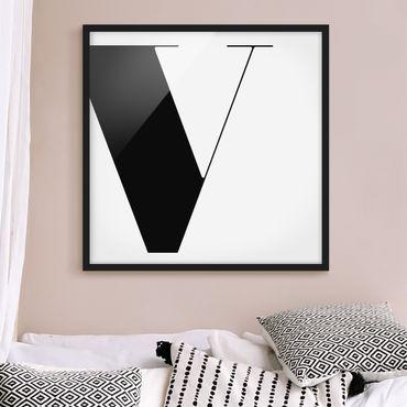 Bild mit Rahmen - Antiqua Letter V - Quadrat 1:1