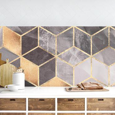 Küchenrückwand - Schwarz Weiß goldene Geometrie