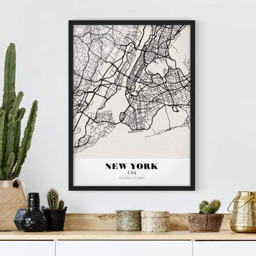 Bild mit Rahmen - Stadtplan New York - Klassik - Hochformat 3:4