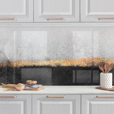 Küchenrückwand - Abstrakter Goldener Horizont Schwarz Weiß